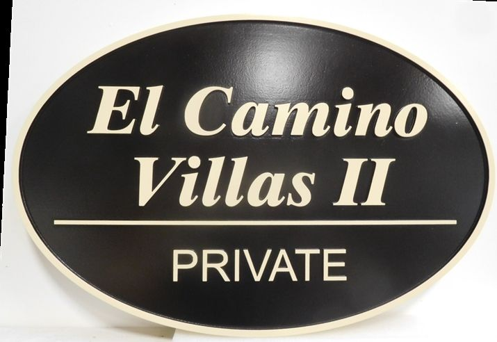 "K20364 - Carved 2.5D HDU  Entrance Sign for the ""El Camino Villas"" Apartments"