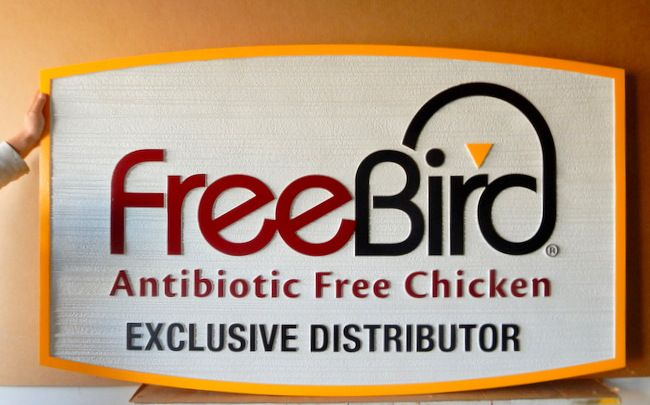 """S28083 - Colorrful Carved and Sandblasted Wood Grain Sign for Distributor for """"Freebird""""  Chicken Distribution Center"""
