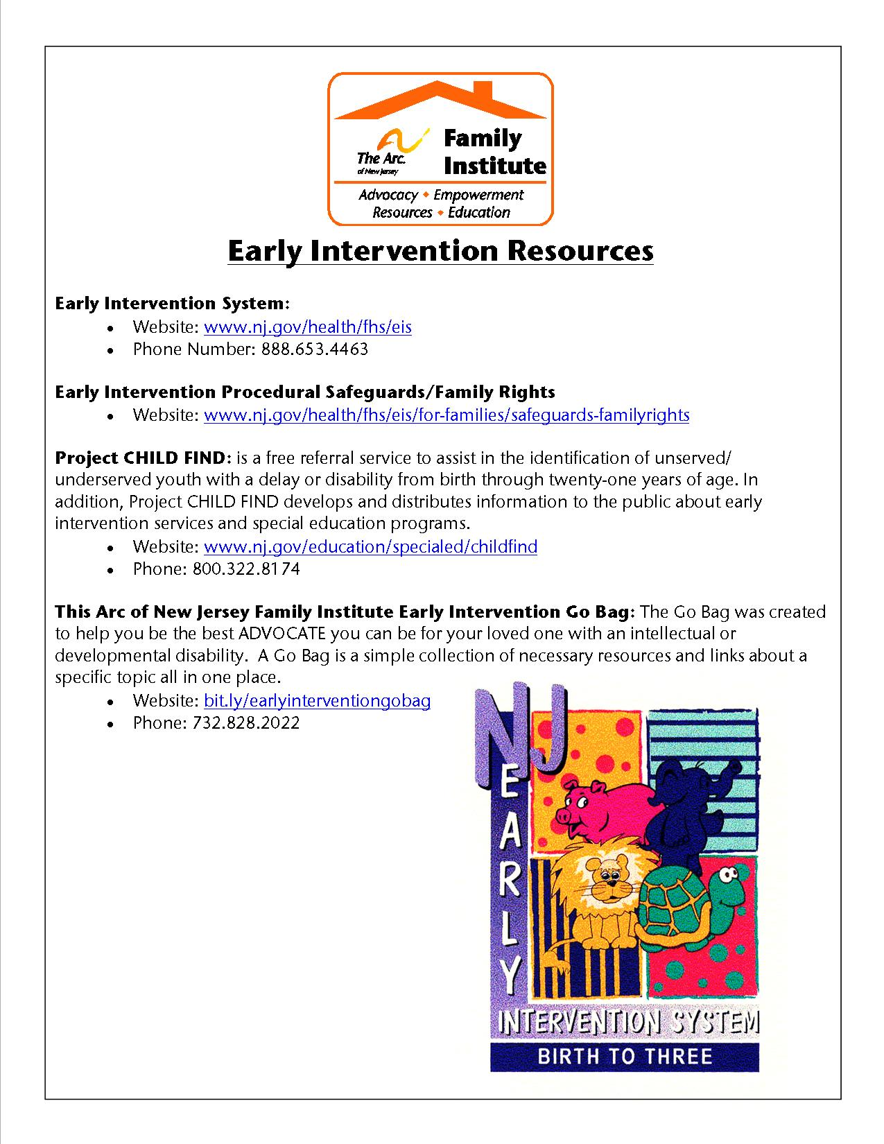 Early Intervention Resource Page
