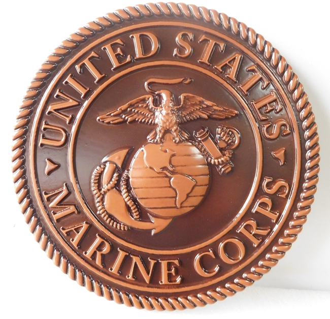 KP-1180 - Carved Plaque of the Emblem of the US Marine Corps, 3-D Painted Bronze
