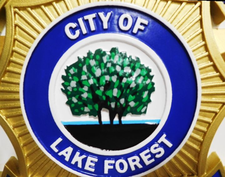 PP-3066- Center Section of the Carved Plaque of the Seal of the Police Department of  Lake Forest, California,  3-D Artist-Painted