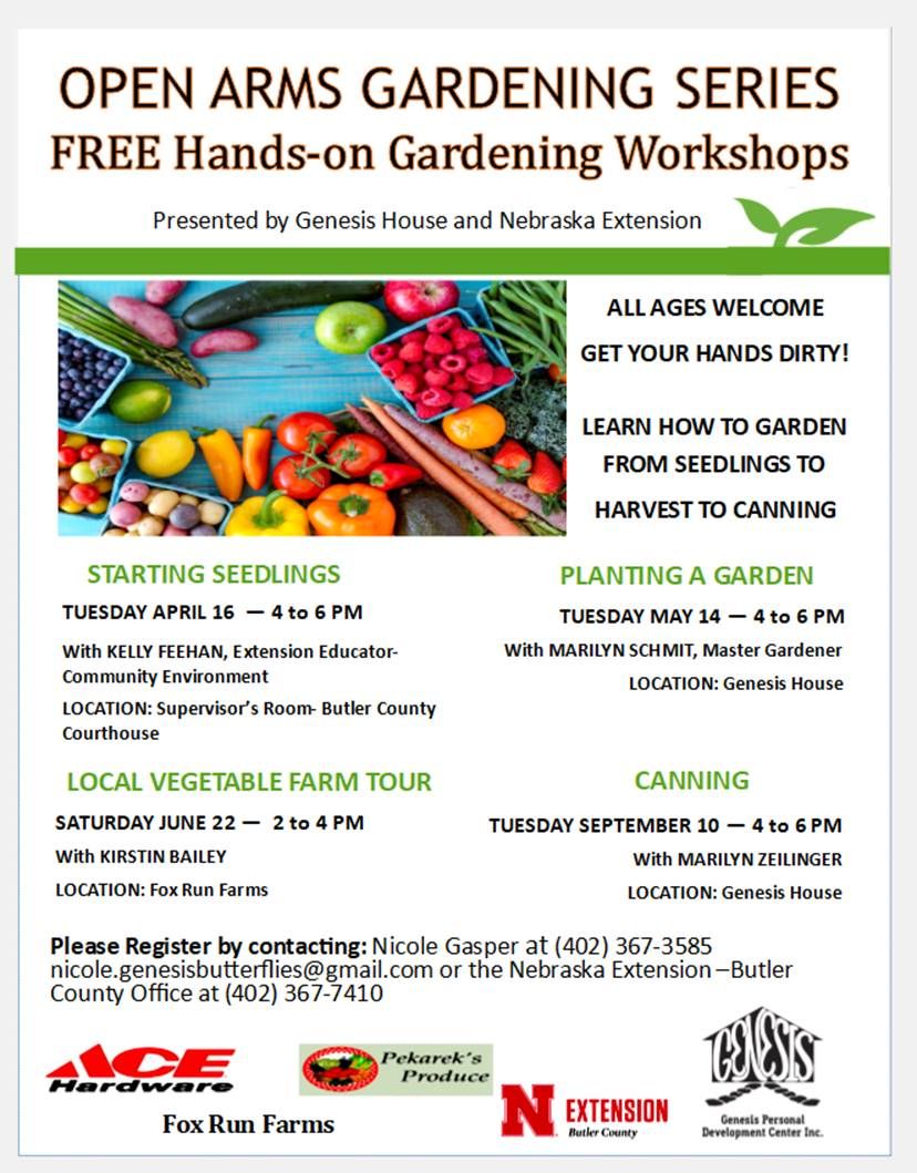 Open Arms Gardening Series FREE Hands-on Gardening Workshops