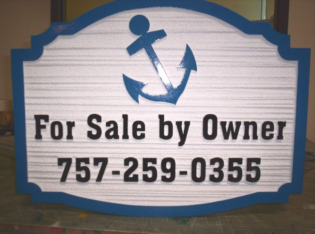 "L21772 - Beach House ""For Sale By Owner"" Sign with Phone Number and Ship's Anchor"