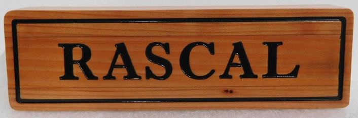 "P25420 - Engraved and Stained  Cedar Horse Stall Sign for ""Rascal"""