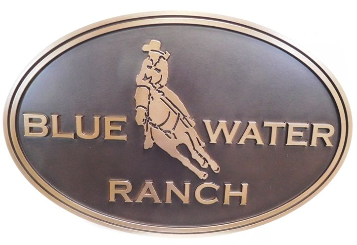 "O24321- Carved Bronze-Plated Sign for the ""Blue Water Ranch"", with a Cowboy Riding a Cutting Horse as Artwork"