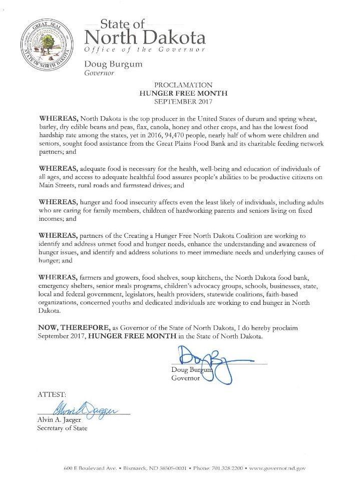 Governor Burgum officially declares September Hunger Free Month