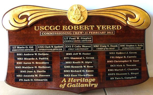 SA1065 - Commissioning Crew Plaque for Coast Guard Cutter Robert Yered, 3-D Carved Walnut with Gold-Leaf Gilded Artwork and Text