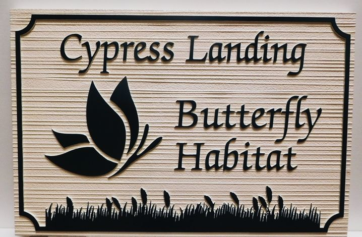 GA16413 - Carved and Sandblasted Wood Grain Sign for Cypress Landing Butterfly Habitat, 2.5-D Artist-Painted