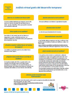 Early Childhood Developmental Screenings FAQ (Spanish)