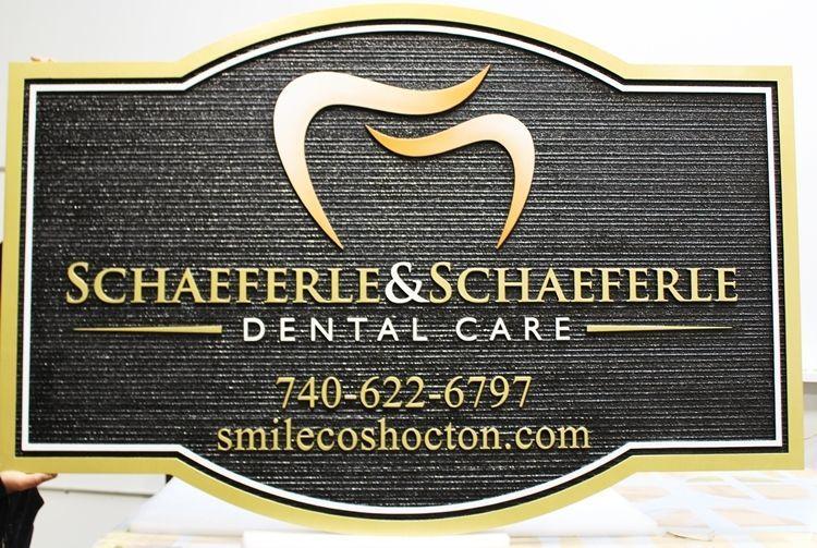 """BA11532 - Carved 2.5-D and Sandblasted Wood Grain HDU  Office Sign for """"Schaeferle & Schaeferle Dental Care """""""