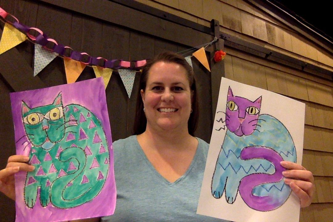 Guided Lesson w/ Ms. Jennifer: A Laurel Burch Cat