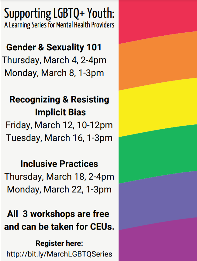 Mental Health Professional Training Series: Inclusive Practices for LGBTQ+ Youth