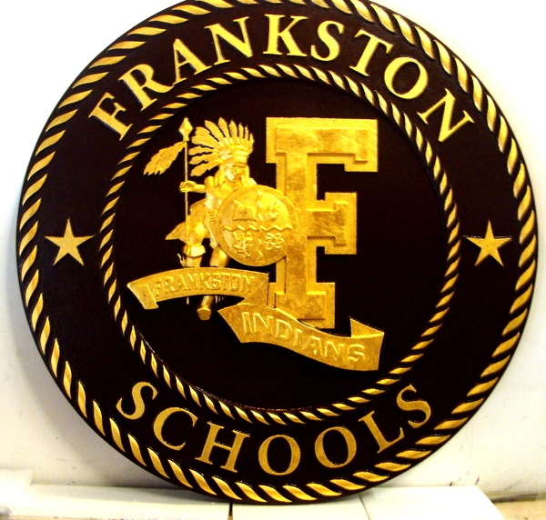 Y34710 - Carved 3-D Bas-Relief HDU Wall Plaque of Frankston Schools Seal (Painted Black and 24K Gold-Leaf Gilded)
