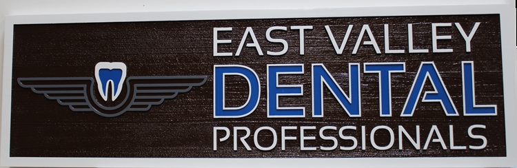 """BA11643 - Carved Wood  Entrance  Sign for the Offices of """"East Valley Dental Professionals"""""""