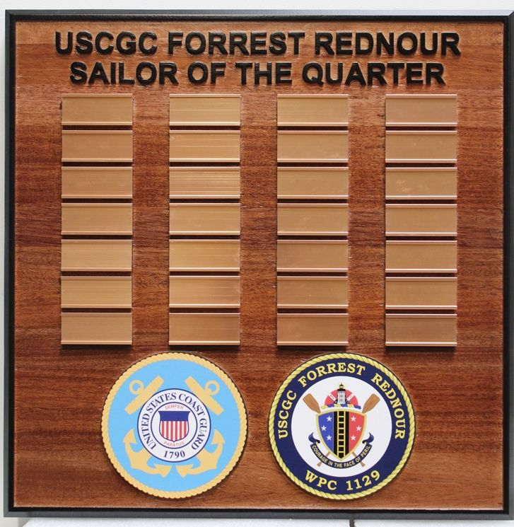 "NP-2555 - Carved ""Sailor of the Quarter"" Award  Board for the US Coast Guard Cutter Forest Rednour, WPC 1129, 2.5-D Redwood with Nameplates"