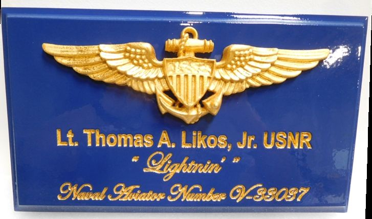 JP-1740 - Carved Plaque of Navy Aviator Badge, 3D Artist Painted