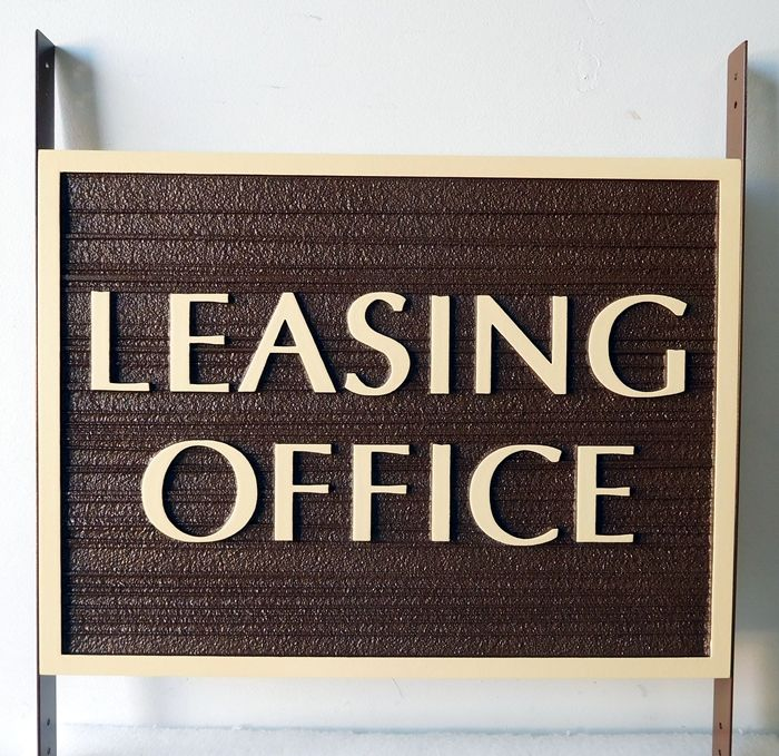 KA20572 -  Large Rustic Leasing Office Sign for Apartments, , Mounted Between Two Posts with Side Brackets