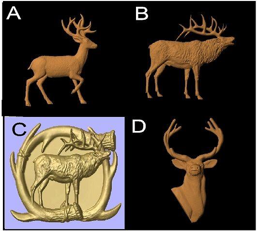 M22989 - Carved 3D Wood Appliques of Deer and Elk