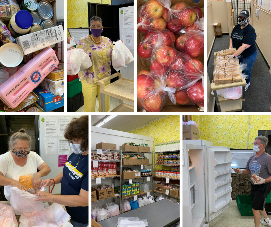 A collage showing 7 pictures of food pantry items and volunteers.