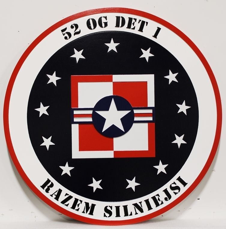 LP-2241 - Carved 2.5-D HDU Plaque of the Crest of the 52nd Operational Group, Detachment 2,US Air Force