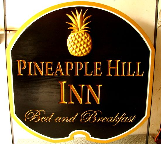 "T29025 - Carved Wooden Entrance Sign for ""Pineapple Hill Inn"" Bed & Breakfast, with 3-D Carved, Gold-Leaf Gilded Pineapple"