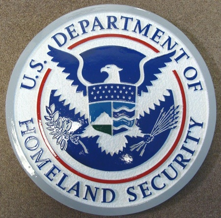 U30172 - Department of Homeland Security Seal Carved HDU Wall Plaque