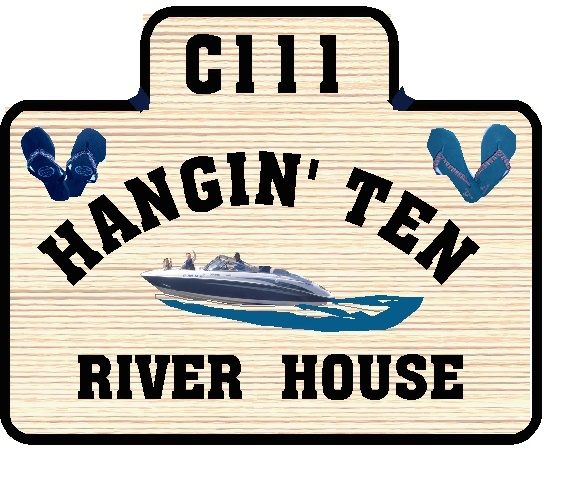 M22508 - Wood Grain, HDU River House Address Sign with Speedboat and Sandals