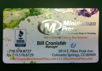 Customer service area products services minuteman for Business cards shaped like a house