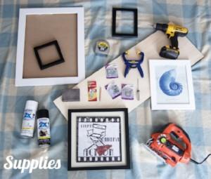 DIY Framed Shelves supplies