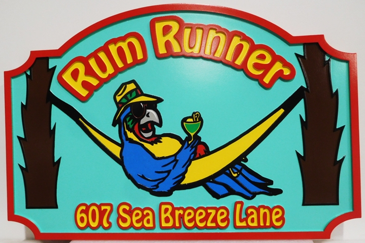 """L21077 - Carved HDU Beach House Name and AddressSign """"Rum Runner"""", 2.5-D Artist-Painted, with a Parrot Lying in a Hammock with a Drink as Artwork"""