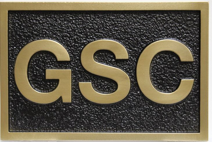 SA28823-  Carved  High Density Urethane (HDU) Brass-Plated Sign  for the GSC  Company.
