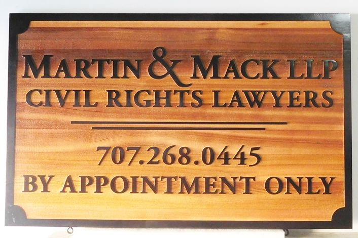 A10415 - Carved Cedar Wood Sign with Carved HDU Frame for Civil Rights Lawyers