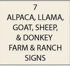 O24400 - Alpaca, Llama, Goat and Sheep  Ranch & Farm Signs