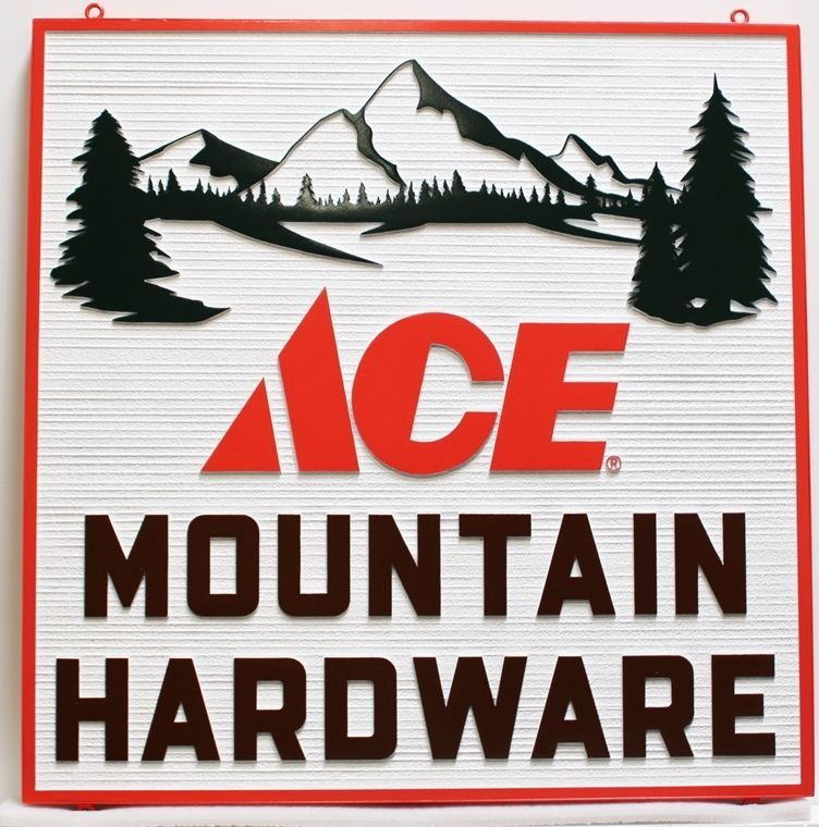 S28063 - Carved 2.5D  and Sandblasted Wood Grain HDU  2.5-D Sign for Ace Mountain Hardware, with Mountain Scene as Artwork