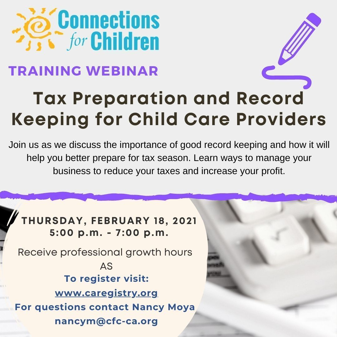 Tax Preparation & Record Keeping for Child Care Providers