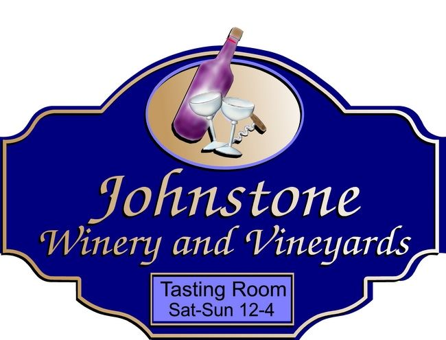R27077- Winery and Tasting Room  Carved Sign for Johnstone Winery and Vineyards