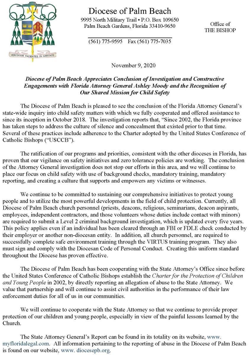Diocese of Palm Beach Appreciates Conclusion of Investigation and Constructive Engagements with Florida Attorney General Ashley Moody and the Recognition of our Shared Mission for Child Safety