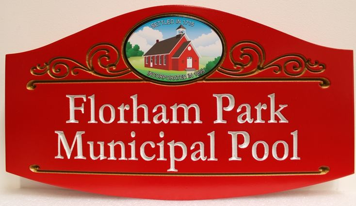 GB16112 - Carved High-Density-Urethane (HDU)  Sign  for Florham Park Municipal Pool., Engraved Text and Artist-Painted Old Town Hall