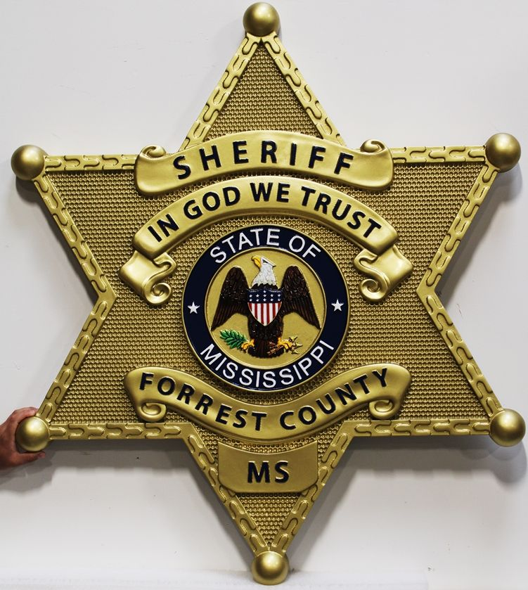 PP-1652 - Carved 3-D Bas-relief Brass-Plated HDU Wall Plaque of the Star Badge of the Sheriff of Forrest County, Mississippi