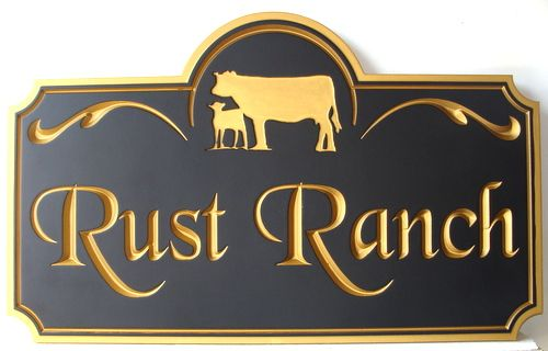 O24155 - Cattle Ranch Engraved Wood Sign