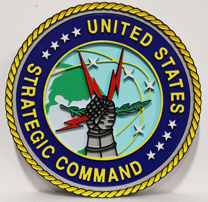 LP-1512 - Carved Plaque of the Crest/Seal of the United States Strategic Command, 2.5-D Outline Relief, Artist-Painted