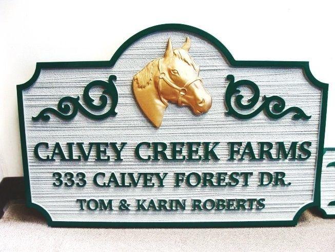 P25053 - Horse Farm Sign with Quarterhorse Head