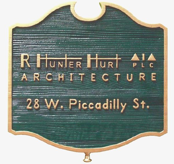 """SA28570 - Carved Sandblasted Cedar Wood Sign for the  """"R. Hunter Hurt"""" Architecture Firm"""