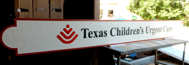 "B11008 - Large ""Texas Children´s Urgent Care"" High Density Urethane Outdoor Sign with Carved, Raised, Text, Border and Logo"