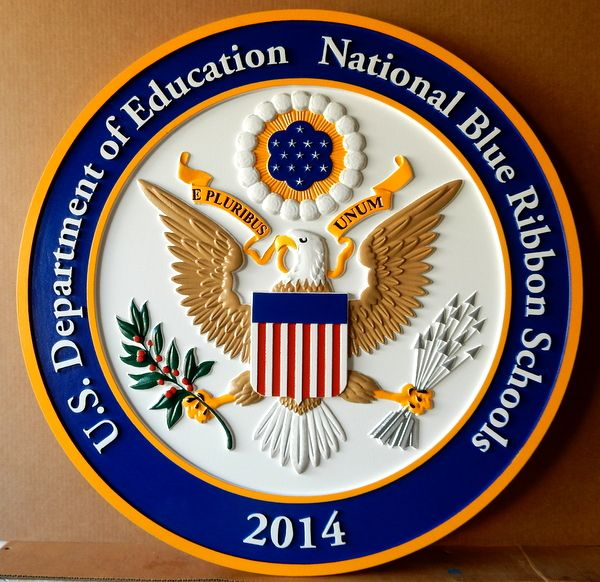 FA15616 - Carved 3D Wall Plaque for a National Blue Ribbon School, featuting the Great Seal of the USA
