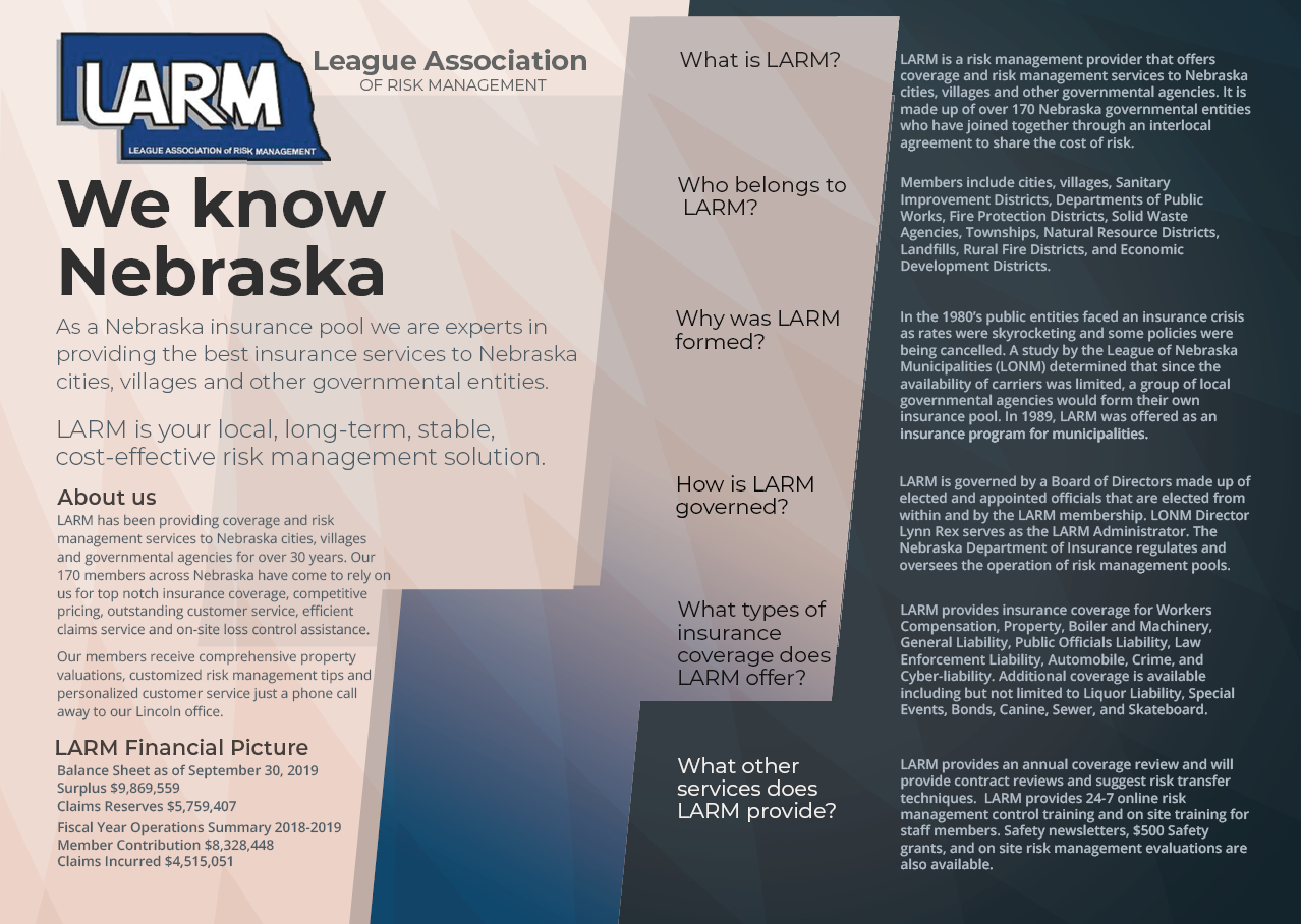 LARM's new 2020 informational brochure! Pass it on!