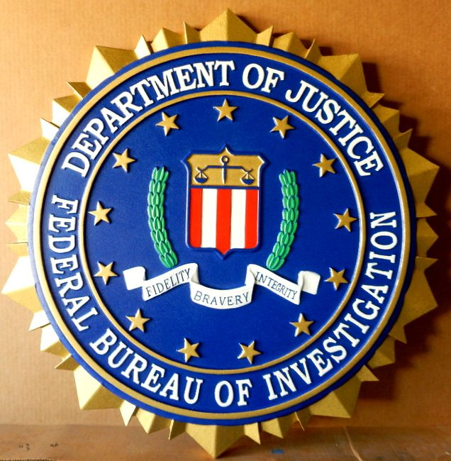 U30361 - 3-D Carved HDU Wall Plaque of the Seal for the Federal Bureau of Investigation (FBI)