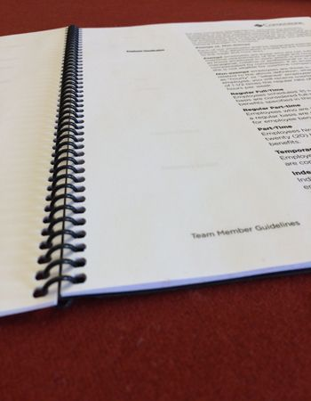Example of a printed manual or handbook that Colorprint can make with its printing services in Burlingame, CA