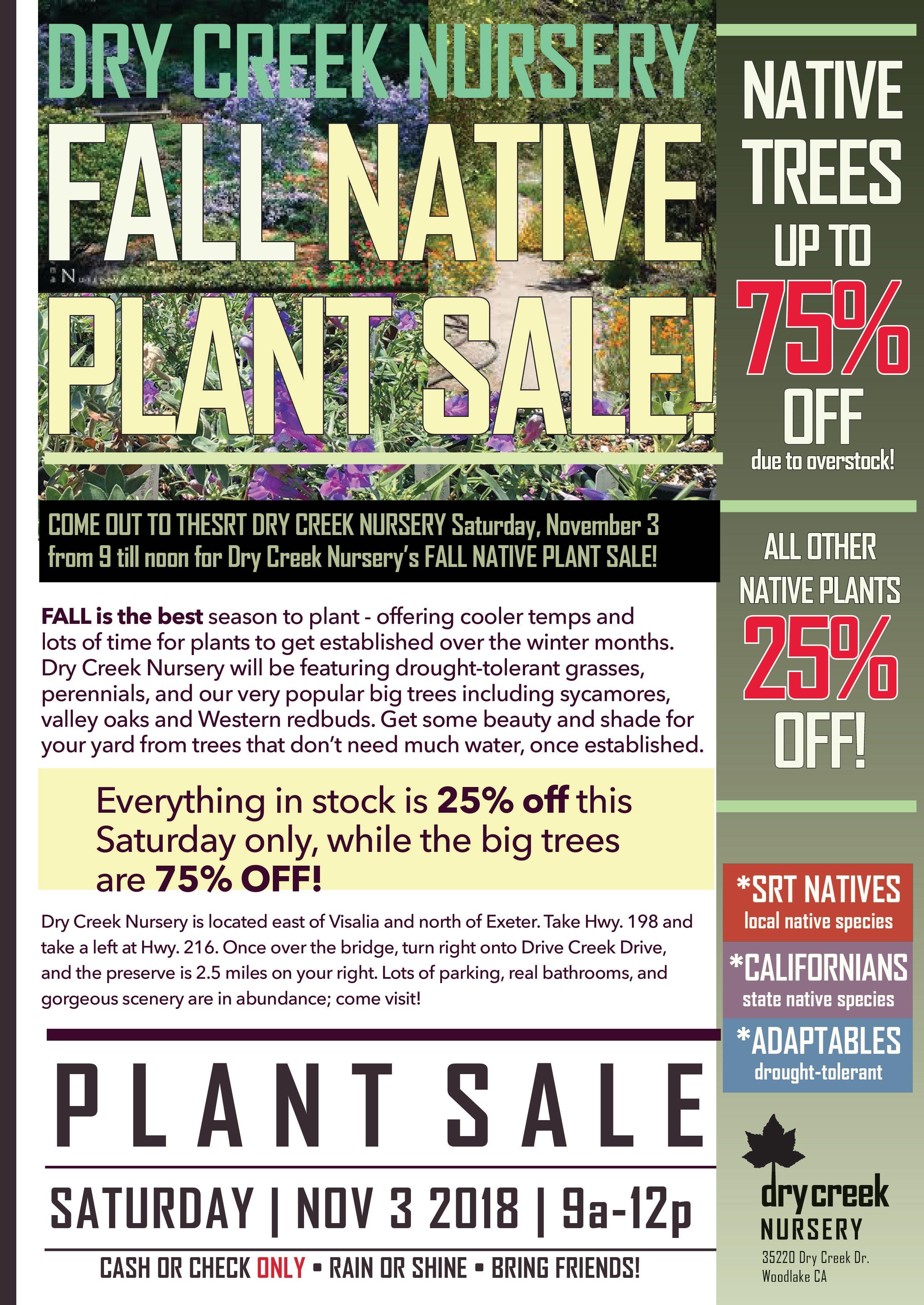 Native Plant Sale Nov. 3 at SRT Dry Creek Nursery