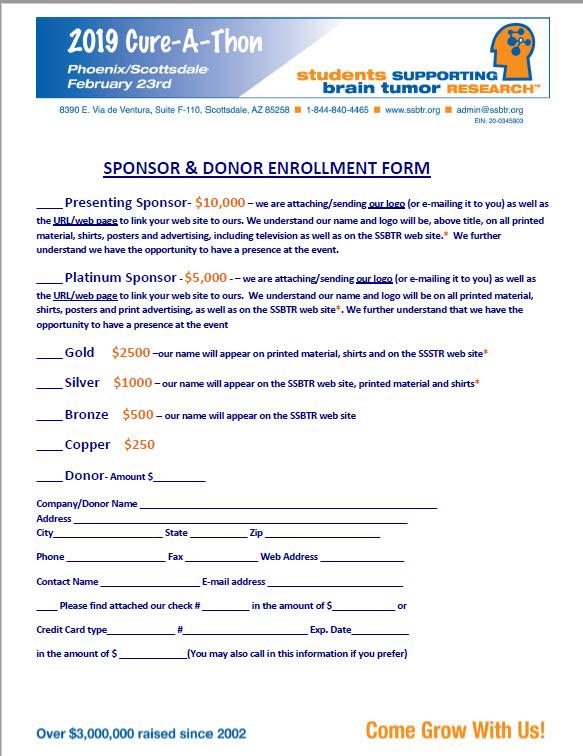 2019 Sponsorship Enrollment Form